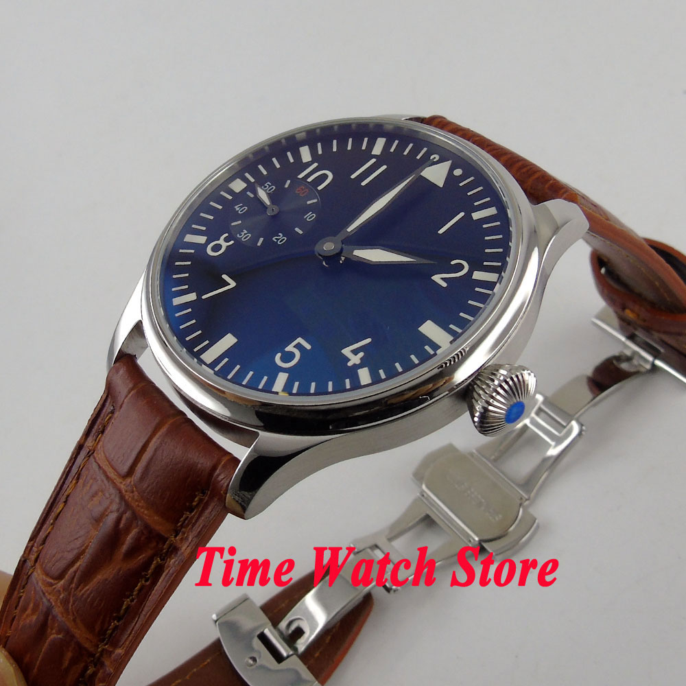 44mm Parnis black sterial dial luminous deployant clasp mechanical 6497 hand winding movement Men's watch P1 цены онлайн