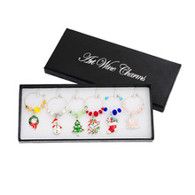 Hoomall 6PCs/Box Mixed Wine Charms Christmas Decorations For Home Table Wedding Champagne Tree Snowman Pendant New Year Party