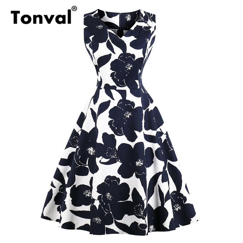 tonval rockabilly vintage azul marinho floral a linha vestido feminino decote em v algodao casual vestido