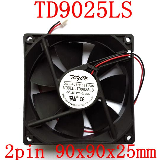 Free Shipping   New original  2pcs/lot TD9025LS 2PIN 12V 0.16A 9CM 90*90*25MM Hydraulic quiet cooling fan free delivery 9025 9 cm 12 v 0 7 a computer cpu fan da09025t12u chassis big wind pwm four needle