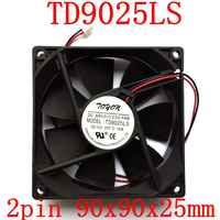 Free Shipping New original 2pcs/lot TD9025LS 2PIN 12V 0.16A 9CM 90*90*25MM Hydraulic quiet cooling fan