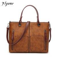 Flyone Vintage PU Shoulder Bag Handbags Women Bags Female Totes For Daily Shopping Dames Tassen High
