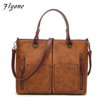 Flyone Vintage PU Shoulder Bag Handbags Women Bags Female Totes For Daily Shopping Dames Tassen High