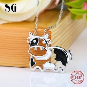 Image 2 - 2018 ayar gümüş 925 güzel hayvan İnekler zincir kolye ve kolye ile siyah emaye diy moda takı yapma kadınlar için hediye