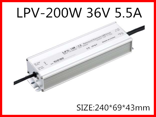 200W 36V 5.5A LED constant voltage waterproof switching power supply IP67 for led drive LPV-200-36 90w led driver dc40v 2 7a high power led driver for flood light street light ip65 constant current drive power supply