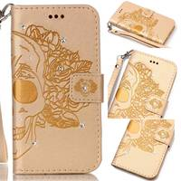 Dream Catcher Rose Skull Flower Bling Stone Luxury Wallet Flip PU Leather Case For Samsung Galaxy