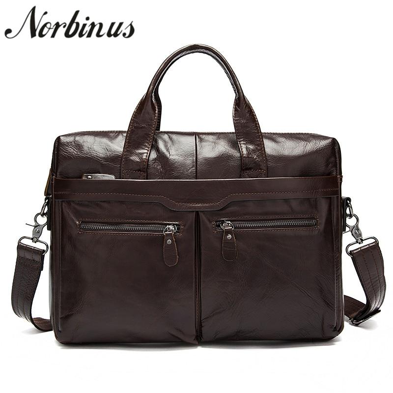 Norbinus Genuine Leather Men Briefcase Leather Laptop Bag Business Briefcase Messenger Shoulder Bags Office Handbag Computer