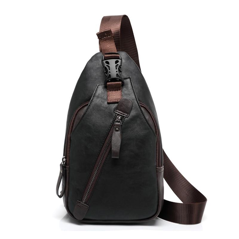 뜨거운 판매 브랜드 패션 가슴 가방 남자 여행 어깨 푸 가죽 캐주얼 crossbody 다기능 대용량 메신저 가방