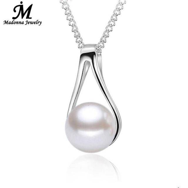 Vintage simple style slide design silver plated high quality vintage simple style slide design silver plated high quality artificial pearl pendant for women girl jewelry mozeypictures Gallery