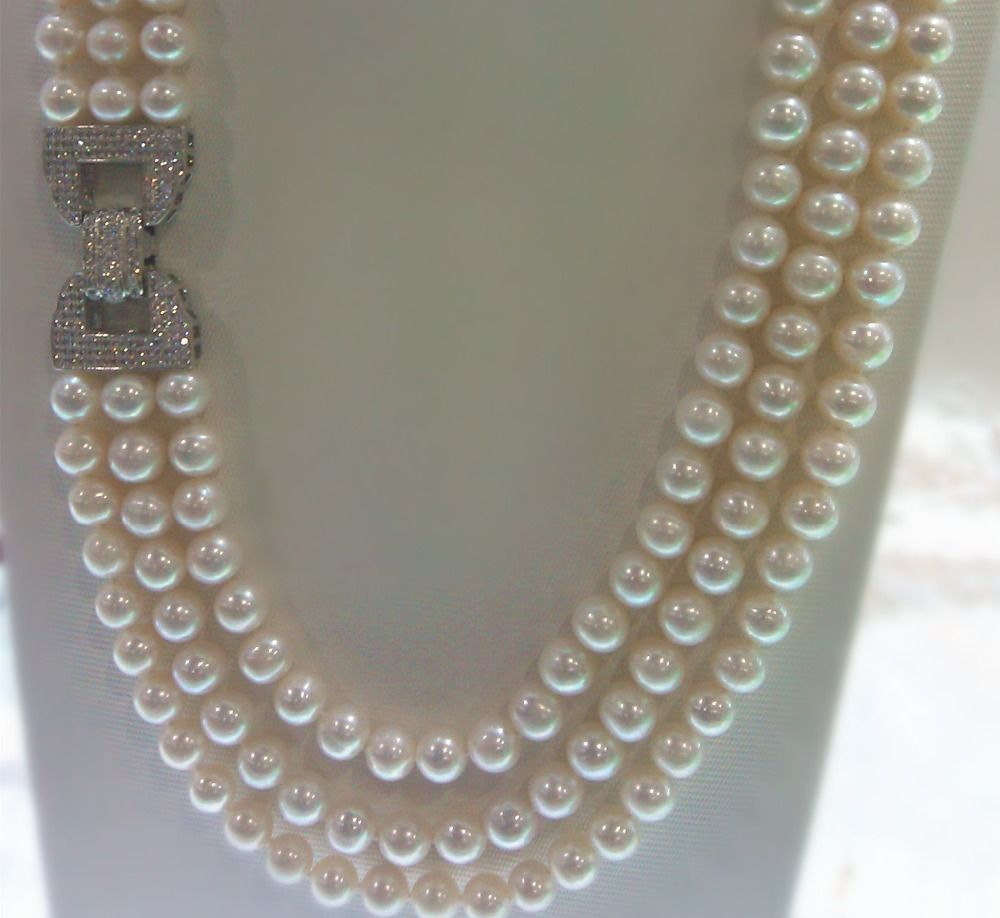 huij 004907 Charming High Quality 3rows Natural 9-10mm White Freshwater Pearl Necklace