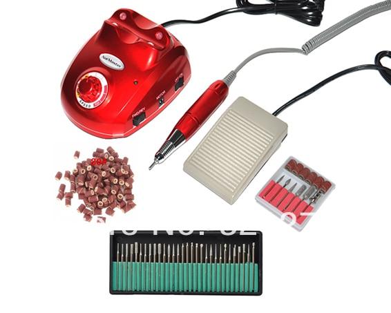 Free shipping/Drop shipping nail manicure machine&the electrical manicure drills+50pcs 80# sanding bands +30pcs nail drill bits