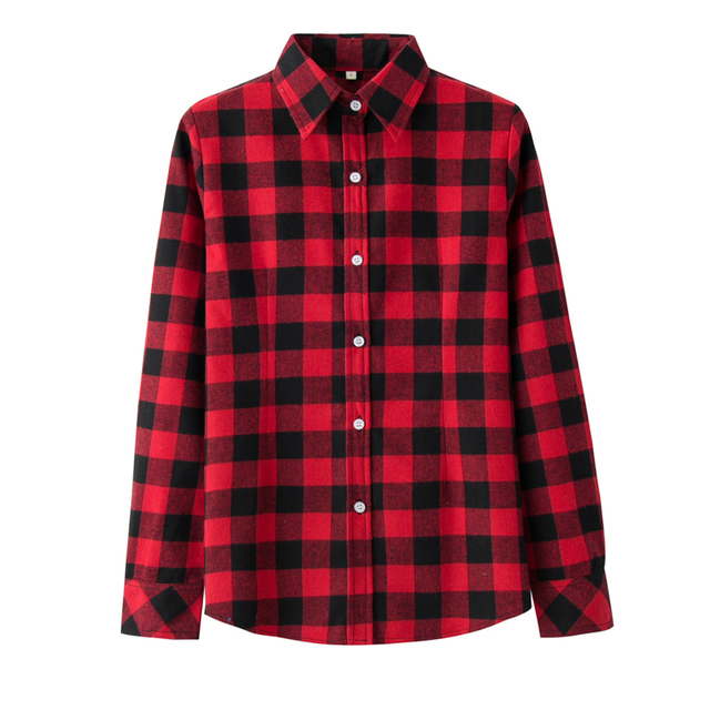 5770bd2d08c20 2018 Spring New Women s Blouse Brand Casual Red Plaid Shirt Women Long  Sleeve Shirt Blouses Excellent Quality Female Tops Blusa