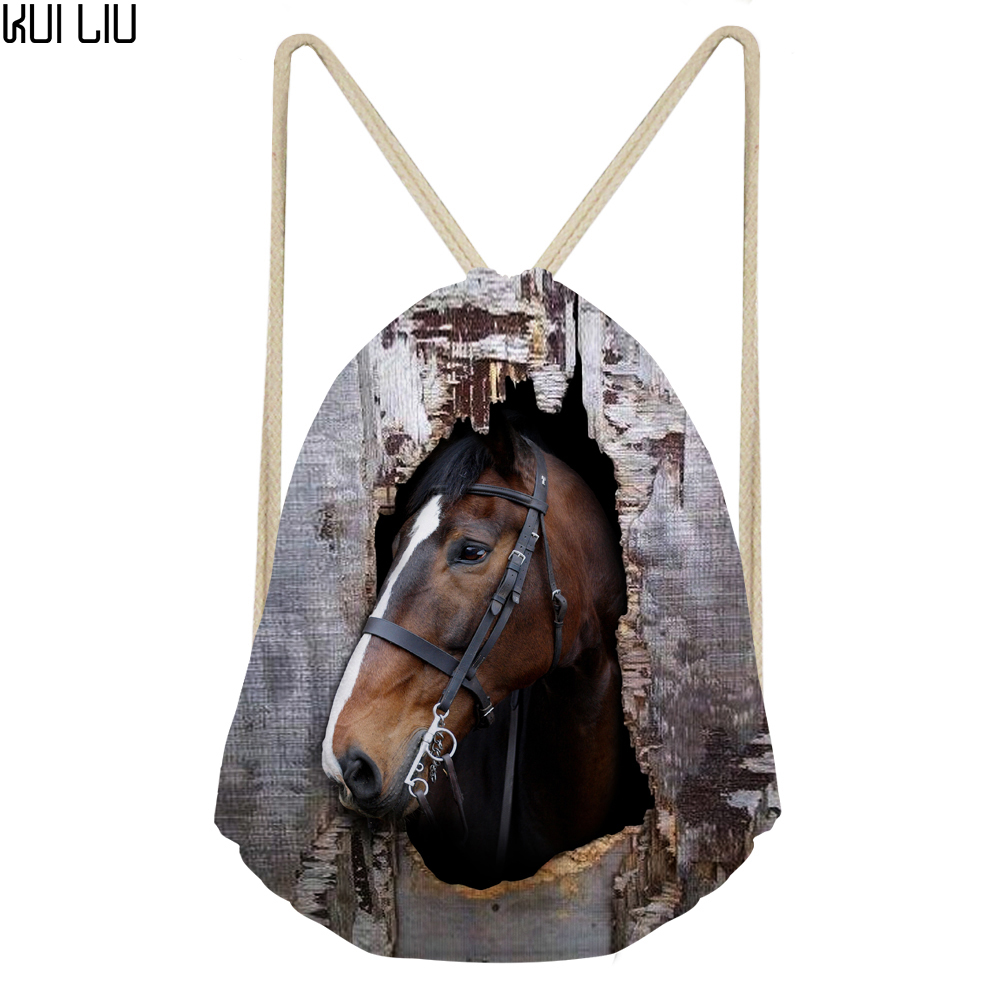 Customized Drawstring Bag Women's Horse Printed Backpack Females Small Shopping String Pouch Kids Girls Logo Custom Bolsos