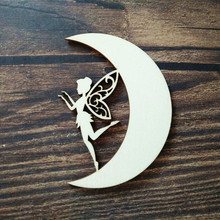 10 шт., 10 см, лазерная резка, деревянная Фея на Луне, настенный Декор для дома, Настенный декор, сделай сам, ремесло, скрапбукинг, вечерние украшения