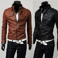 New Fashion Men's clothes PU leather stand collar Man's Jackets Spring Autumn Motorcycle Slim leather Coat Outwear