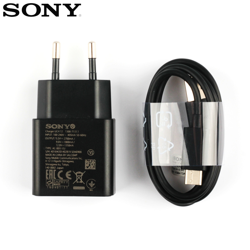 Original Fast Chatger Adapter Quick Charger For Sony Xperia XZs G8232 X Compact F5321 XA2 Ultra XZ2 XZ Premium XZP Type-C Cable