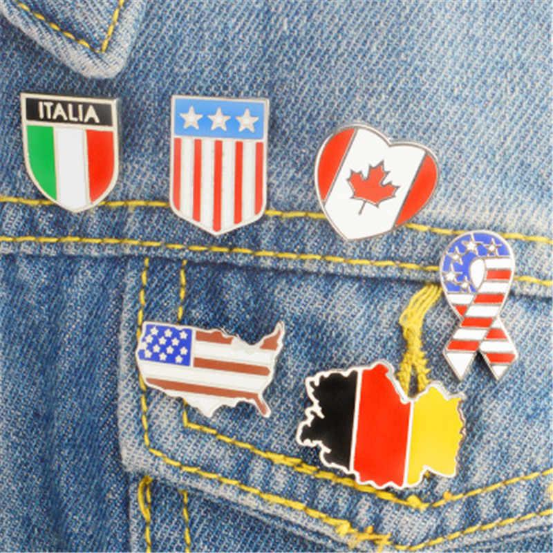 1 pc Bandiere Nazionali Dello Smalto Canada Spille Americano Tedesco Bandiera Italiana Spilla Spille Pulsante Sacchetto di Vestiti Collare Spille Gioielli Distintivo брошь