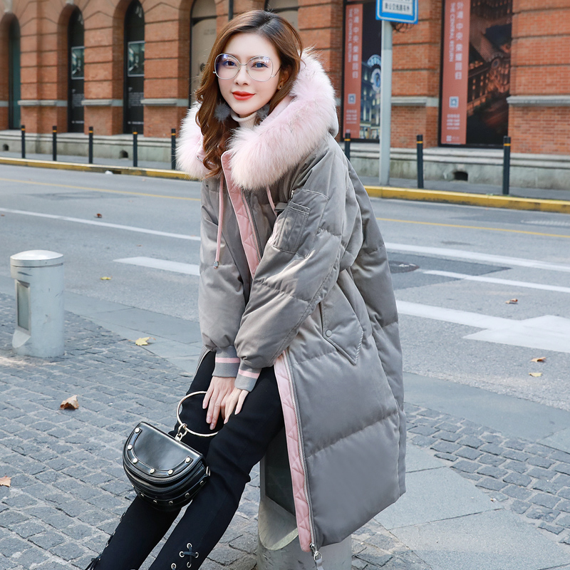 2018 New Winter Women Basic Jacket Hooded Thick Warm Medium long Down Cotton Coat Fashion Long sleeve Slim Large Size Parkas 2016 winter korean star style fashion long down padded jacket women slim hooded coat with big pocket cotton warm parkas ja014 page 8