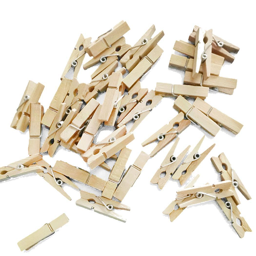 50Pcs Windbreak Small Natural Wooden Clip DIY For 3.5cm/1.4inch Photo Socks Clothes Household Decoration