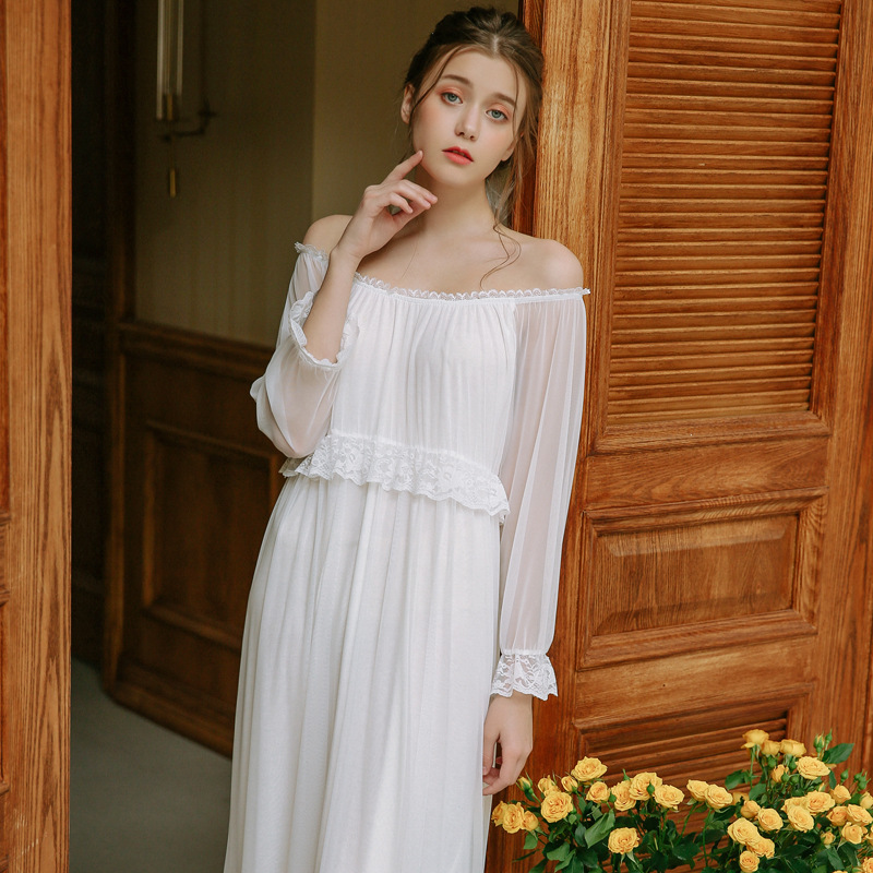 New Arrivals Lace Mesh   Nightgowns     Sleepshirts   Solid Sleepwear Sexy   Nightgown   Female Soft Home Dress Vintage Cute   Nightgown