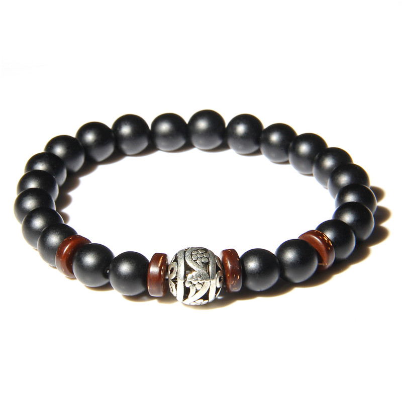 Natural Stone Beaded Bracelets Men Women Fashion Black Onyx Stone Bracelet Handmade Charms Yoga Jewelry Hombre bijoux in Strand Bracelets from Jewelry Accessories