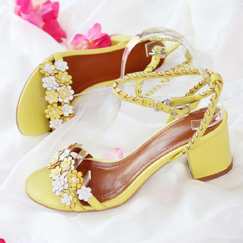 Peep As Toe Piste Chaussures Été Talon 2018 Feminino Pic Med Coloré Fleur Sandales Pic Plage Femme Douce Motif Sapato as Printemps Marque UwZOPzw7