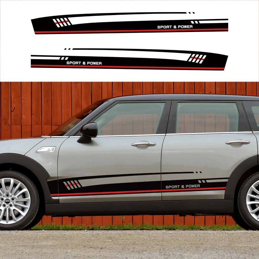 Pour le mini clubman 2017 sur personnaliser accessoires de voiture modifiée stickers 2 PC racing côté porte un style graphique Vinyle autocollants pour voiture