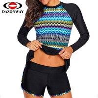Woman Split Surf Swimsuit Quick drying Sunscreen Diving Suits Jellyfish Multicolor Print Long Sleeve Plus Size Split Swimwear