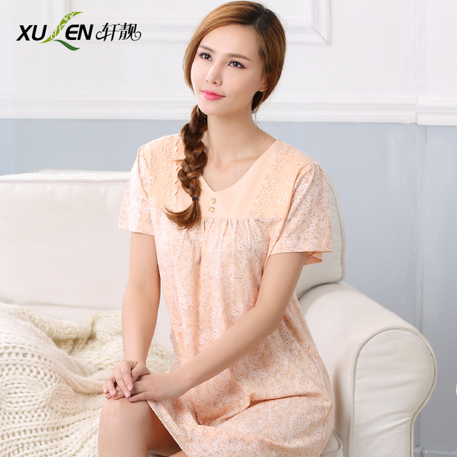 100% cotton sleepwear women s summer nightgown short-sleeve summer 100%  cotton plus size the elderly medium skirt 958049bb8d9b