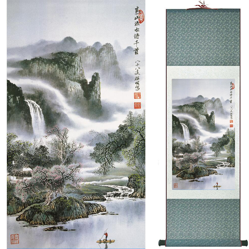Mountain and river painting Home Office Decoration Chinese scroll painting mountain and River painting TX2017122108