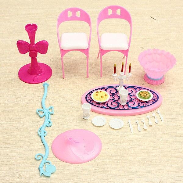 Лидер продаж изящный Стильный ретро девушка детские игрушки Миниатюрный Кукольный дом для куклы Барби мебель обеденный стол наборы