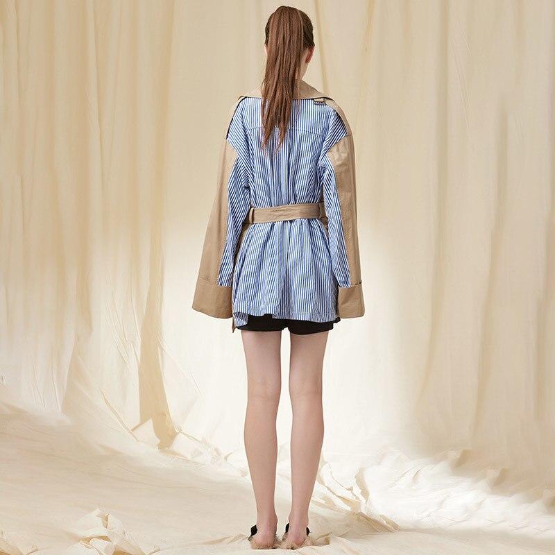 Longue Manteaux vent Oversize 2019 Femmes Windbreaker Coupe Oxant Mode Patchwork Vêtements Tranchée Rayé Femelle Taille Ceinture Khaki Ol Haute HwBqcACEPB