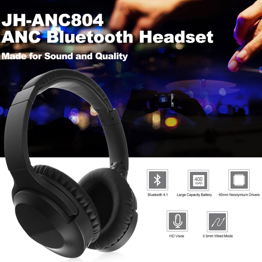 JH-ANC804 ANC Bluetooth Headphones Headset Active Noise Cancelling Over Ear Deep Bass Music Earphone Hands-free with Microphone riding winter boots feathers 2015 new fashion korean metal decoration genuine leather elevator pull on pure color round toe