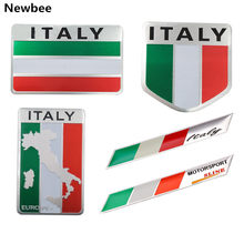 Newbee Italia Bandiera 3D del Metallo del Distintivo Dell'emblema Styling Auto Moto Decalcomania per la Renault Peugeot Citroen Chevrolet Ford VW Benz Skoda(China)