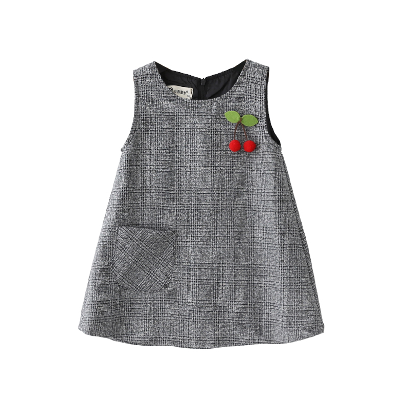 Cute Cherry Baby Girls Princess Dress Sleeveless Autumn Winter Dress for Toddler 2 10 Years Children