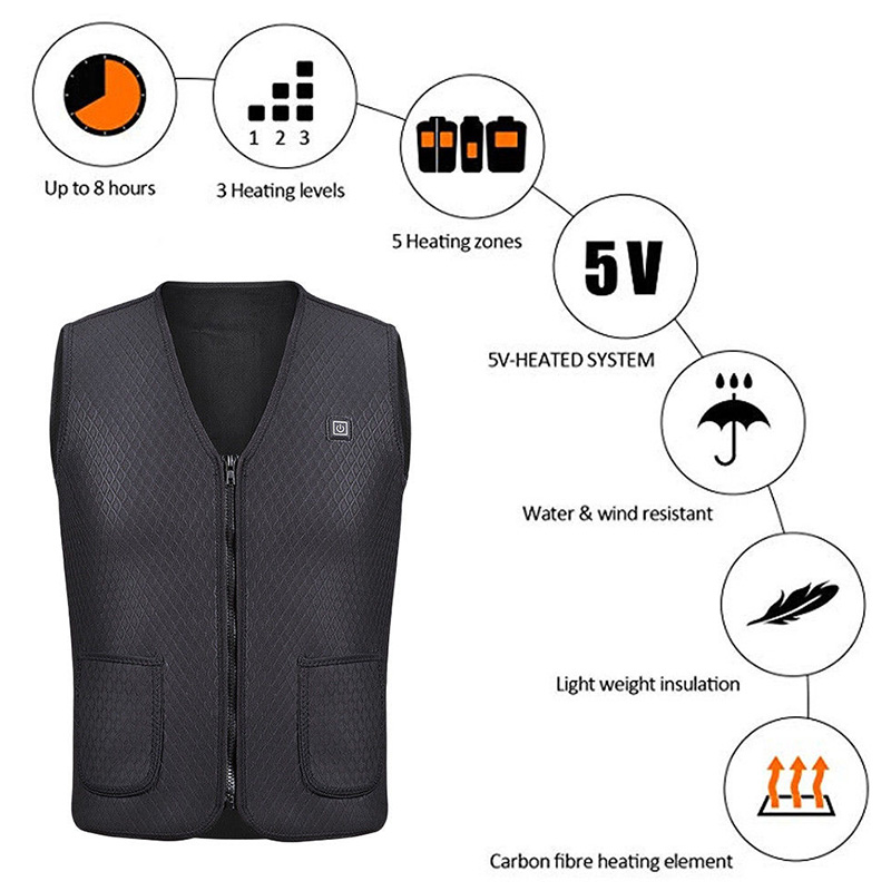 USB Heated Outdoor Vest Riding Skiing Fishing Charging Warm Electric Clothes YS-BUY