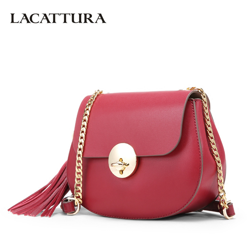 LACATTURA Small Bag Women Messenger Bags Split Leather Handbag Lady Tassels Chain Shoulder Bag Crossbody for Girls Summer Colors 120cm replacement metal chain for shoulder bags handle crossbody handbag antique bronze tone diy bag strap accessories hardware