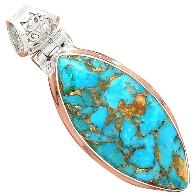 Lovegem Genuine BLUE COPPER TURQUOISE Pendant 925 Sterling Silver, 44 mm, AP3044