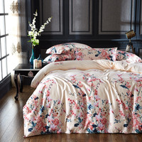 Luxury 60S Long Staple Cotton Bedding Set Beige Flowers Duvet Cover Bed Linen Bed sheet Pillowcase King Queen 4 PCS