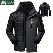 Winter Jacket Men 2 in 1 Waterproof Thick Warm Parkas Patchwork Windbr
