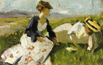 High quality Oil painting Canvas Reproductions Two Women on the Hillside Sketch 1906  By Franz Marc  hand painted