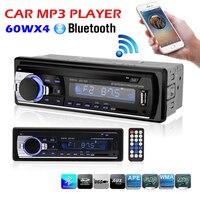 Автомобиль, Радио стерео плеер Bluetooth телефон AUX-IN MP3 FM/USB/1 Din/пульт дистанционного управления 12 В Car Audio Авто 2017 MP3 игрока для авто