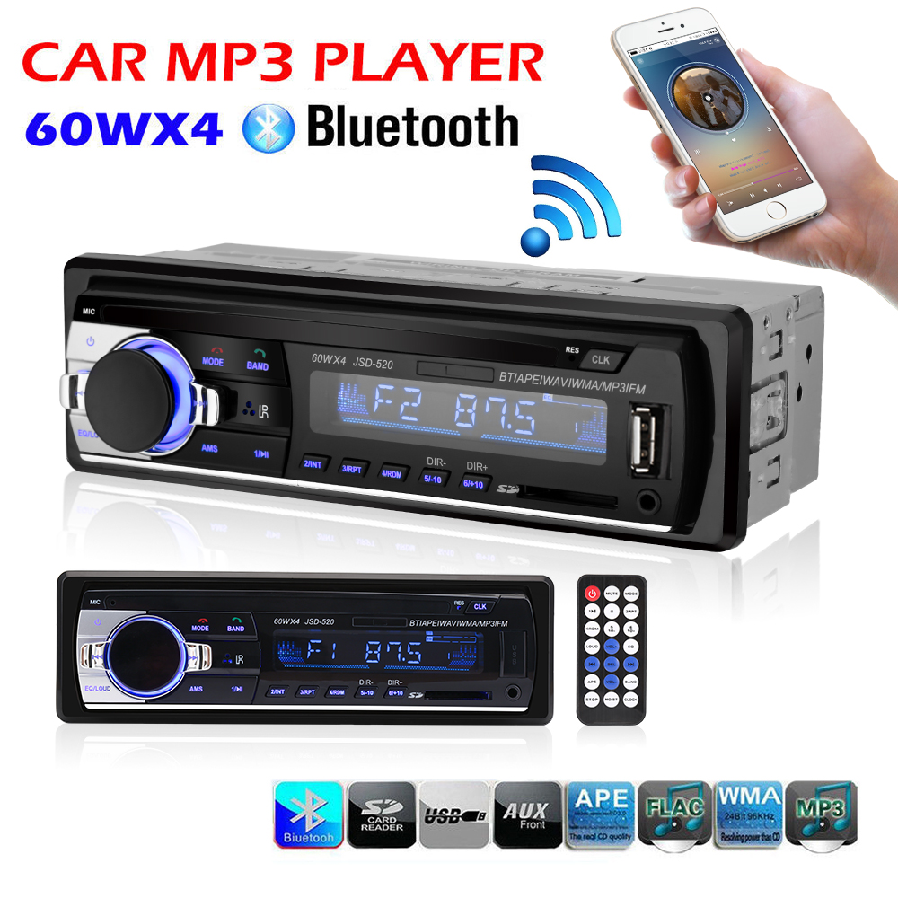 Car Radio Stereo Player Bluetooth Phone AUX-IN MP3 FM/USB/1 Din/remote control 12V Car Audio Auto 2017 MP3 Player for Auto