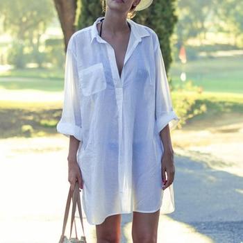 Saida De Praia Beach Dress Tunic Pareos For Women Kaftan 2018 New Cotton Shirt Long Sleeve Size Sexy Beach Cover Up Pareo Praia 1