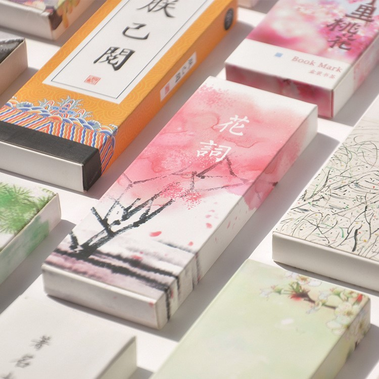 30pcs/box Creative Chinese Style Bookmarks Variety Of Vintage Fine Paper Bookmarks For Books Markers  Funny Office Supplies