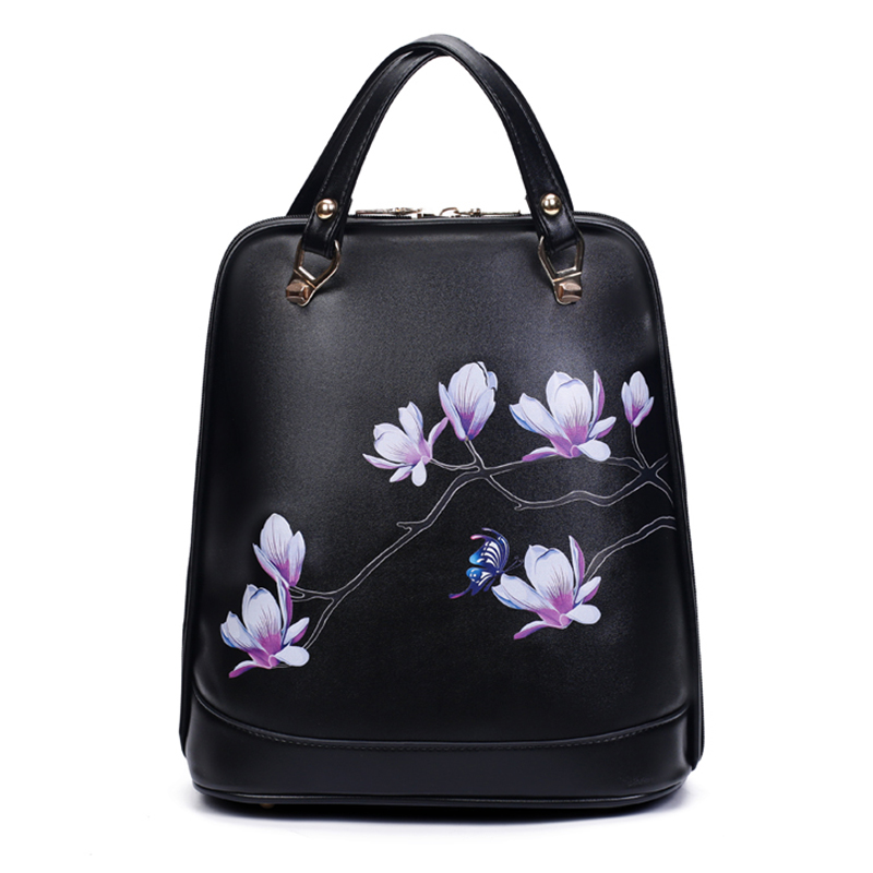 2017New National Floral Women Backpack Black PU Leather Printing Backpack Women Backpacks For Teenage Girl School