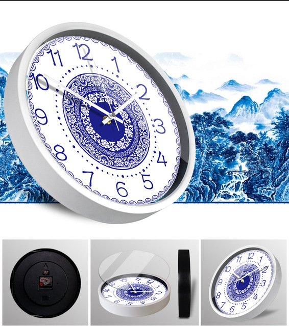 Creative circular ceramics wall clock Large  Metal Clock  Chinese style Blue and white porcelain decoration Mute quartz clock