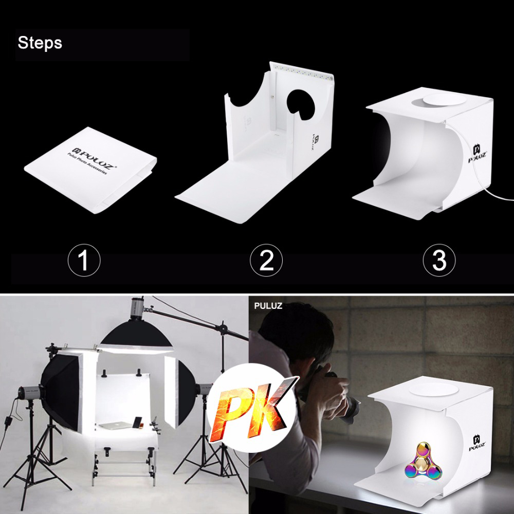 2 LED Folding Lightbox 22 23 Photography Photo Studio Softbox Portable Softbox Adjustable Brightness Light Box For DSLR Camera (6)