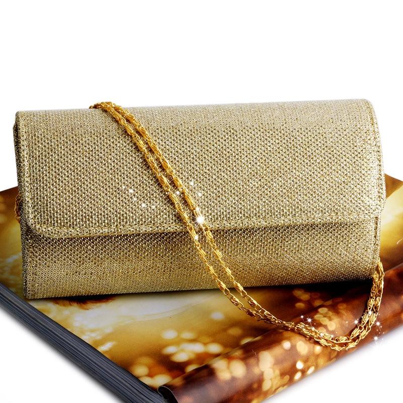 Fashion Women Evening Shoulder Bag Bridal Clutch Shining Sequins Silk Bottom Elegant Prom Party Wedding Envelope Lady Long Bag 2