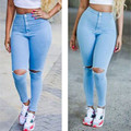 New Fashion Women clothes Sexy Denim Skinny High Waist Stretch broken hole Jeans Polyester Slim Pencil pants one pieces